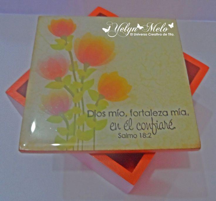 """Caja MDF 8cm x 8cm con Versículos bíblicos #latinacrafter set de sellos """"Confianza y Alabanza al Señor"""""""