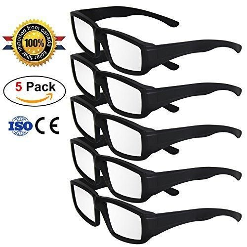 TOLOCO Solar Eclipse GlassesCE and ISO Certified Safe Solar Shades Filter for Solar Eclipse Viewing (5-Black)