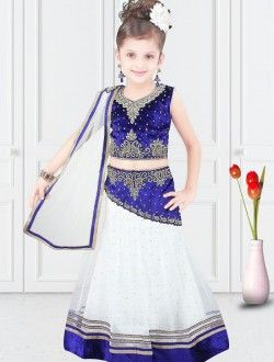 Demure White Net Designer Kids Wear Lehenga Choli