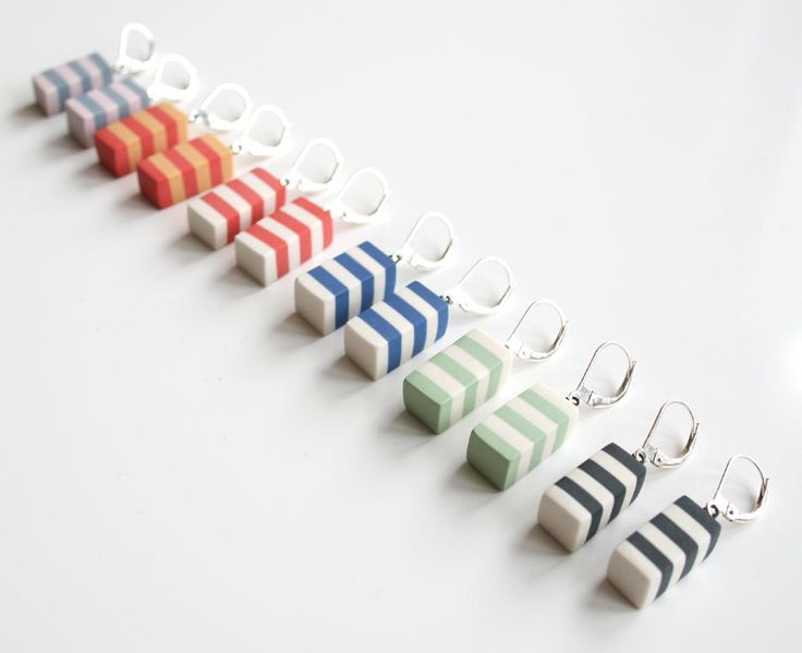 Striped earrings made by Marie Olofsson