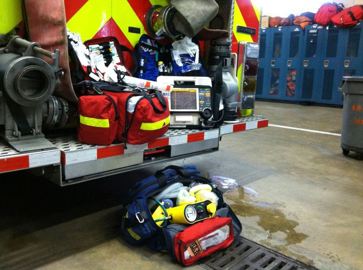 photo of medical supplies on fire truck back step
