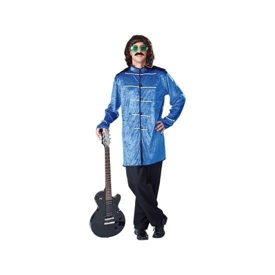 Jaren 70 pop kostuum blauw. Het kostuum bestaat uit een jas en broek.