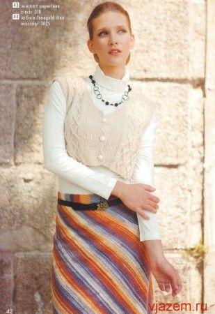Прямая юбка спицами по диагонали из секционной пряжи