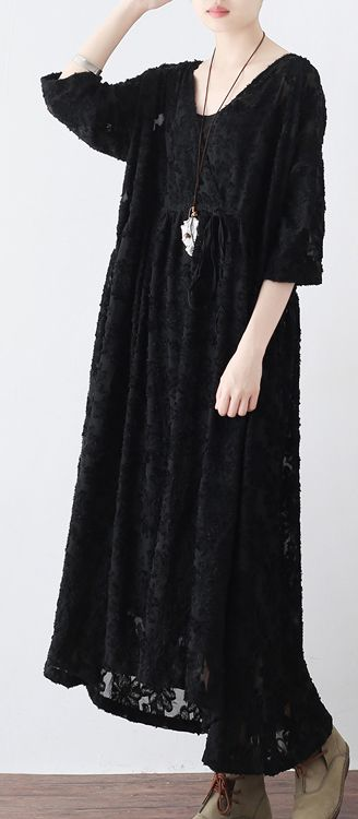 2017 black hollow out chiffon silk dresses plus size casual large hem maxi dress