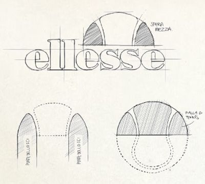 The Ellesse logo 1957: the half-tennis ball graphic is introduced known as the 'semipalla' #logodesign #designprocess #logos via Visual Culture