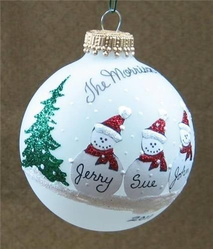 Cool Snowman Decoration Ornaments For Christmas Tree: Personalized Snowman Family Christmas Tree Ornament By