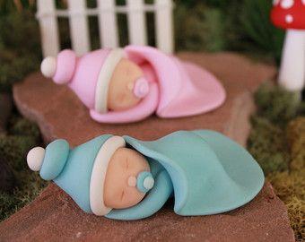 Arcilla del polímero dormir bebé - bebés de arcilla de polímero - bebé ducha - pastel Topper - bebé del jardín de hadas - hadas jardín - miniatura jardín