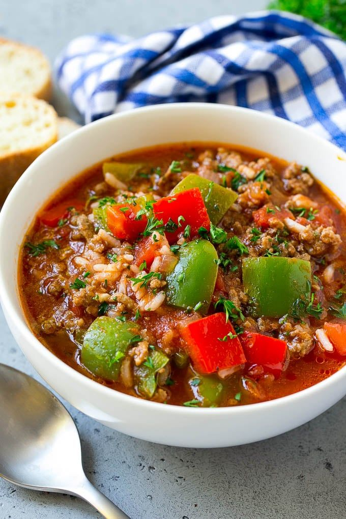 Stuffed Pepper Soup Recipe Beef And Rice Soup Stuffed Peppers Peppers Soup Beef Rice Dinner Dinneratt Stuffed Pepper Soup Soup Dinner Stuffed Peppers