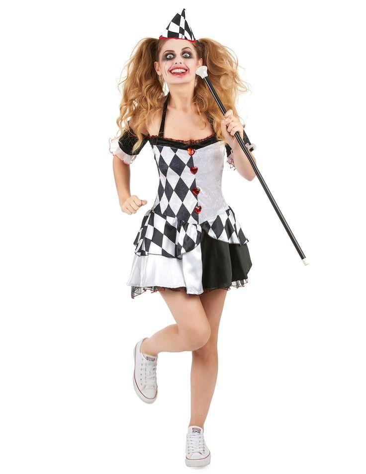 Disfraz de arlequín mujer: Este disfraz de arlequín para mujer incluye un vestido, un sombrero y una cinta para el cuello (zapatos y bastón no incluidos).El vestido es de color blanco y negro y está...