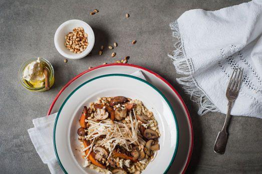 Mushroom & millet risotto  Styling: Carlie Monasso Photography: Samara Clifford