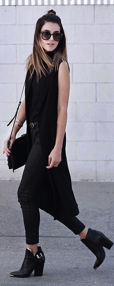 Thrifts And Threads Gold Trim Black Booties Black Crop Pants Black Long Vest Fall Inspo