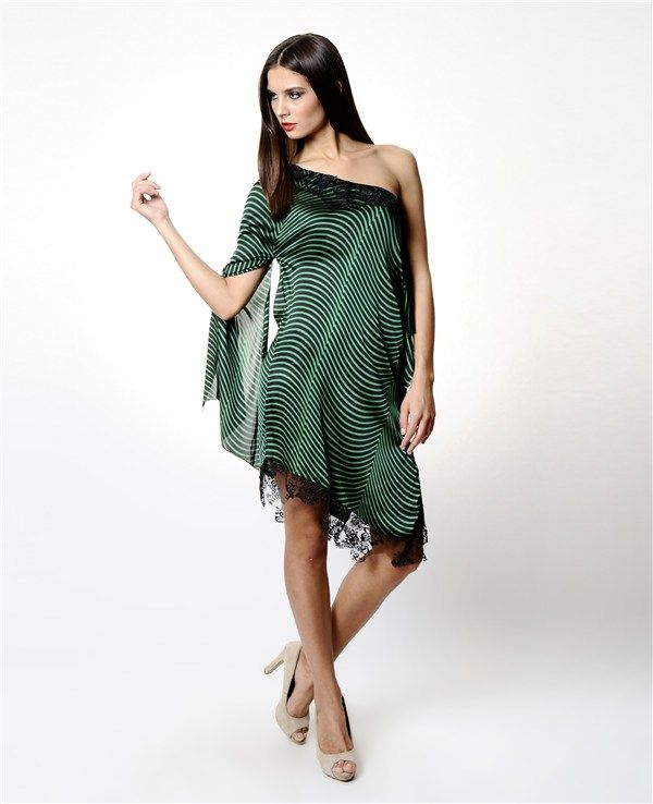 Therzi Yeşil Saten Asimetrik Elbise
