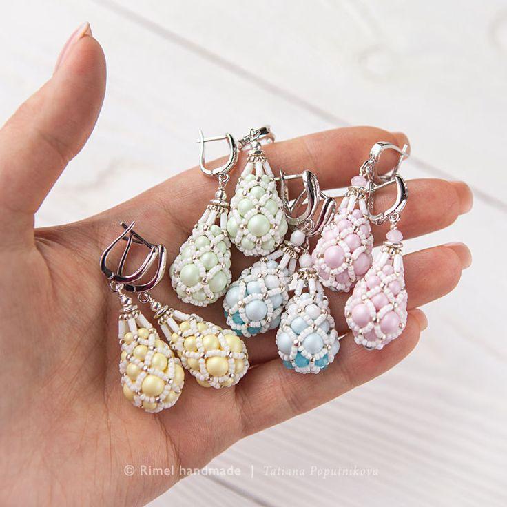 Купить «Pastel Faberge» Ваш выбор! Серьги из жемчуга Swarovski - комплект из жемчуга, украшения из бисера