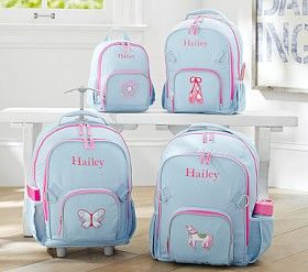 I love this!!!! Blue and Pink backpack with wheels. :Fairfax Aqua/Pink Backpacks #Pottery Barn Kids