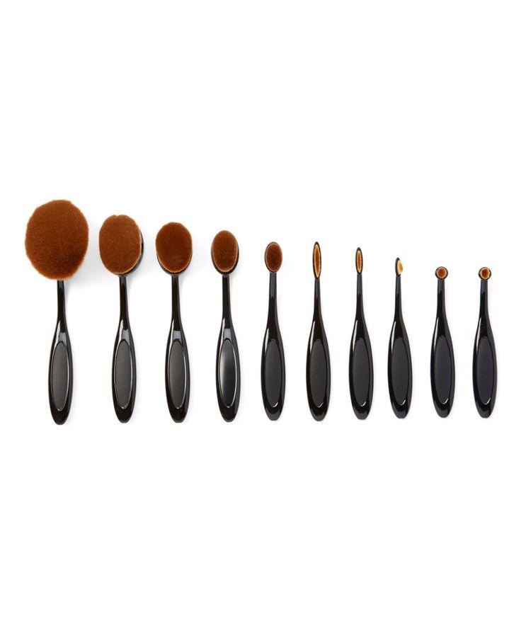 Take a look at this My Makeup Brush Set Black Oval Makeup 10-Piece Brush Set today!
