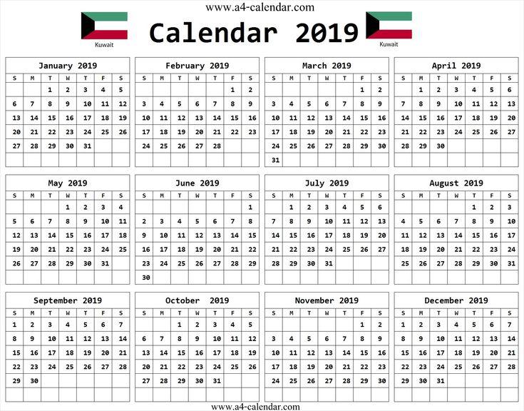 calendar 2019 kuwait