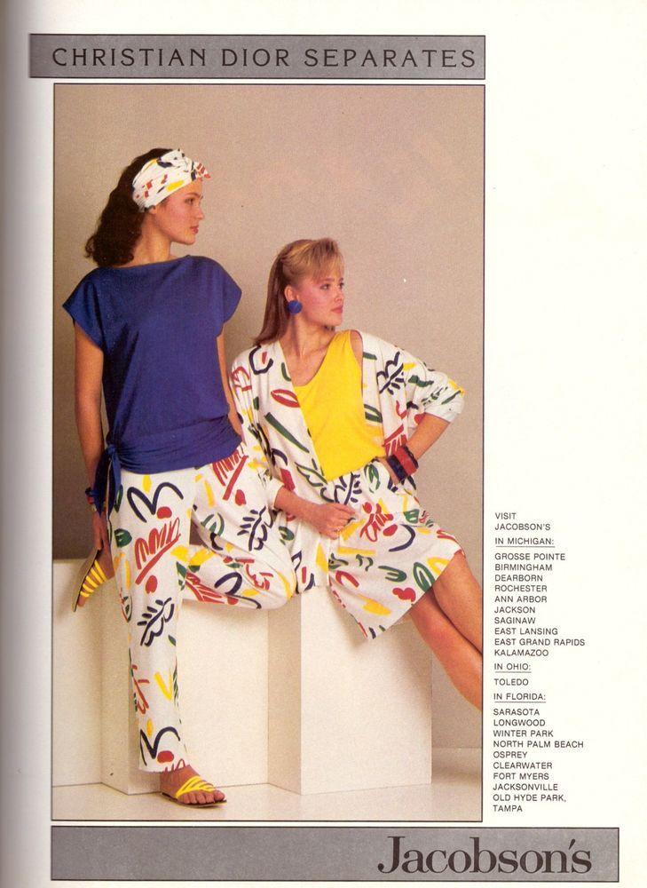 1985 Christian Dior Separates Jacobson s Print Advertisement Vintage VTG 80s | eBay