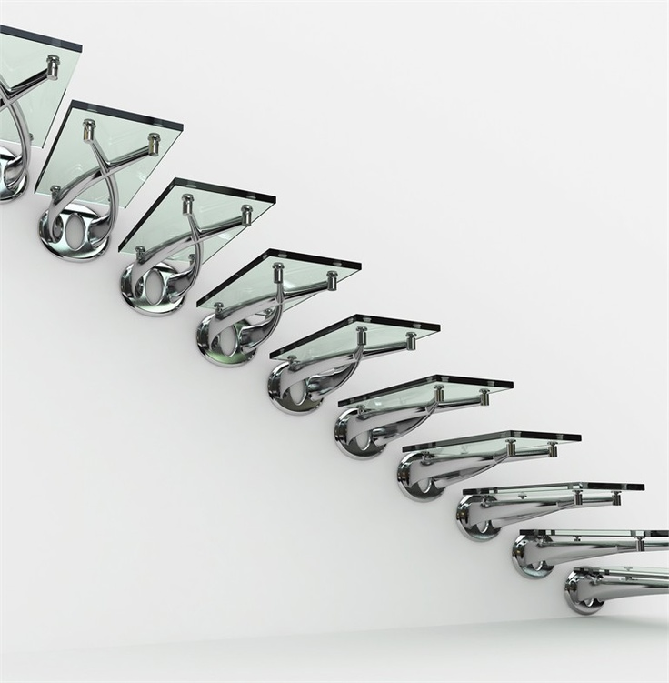 Glass and Stainless Steel Open Staircase TWIN - FARAONE