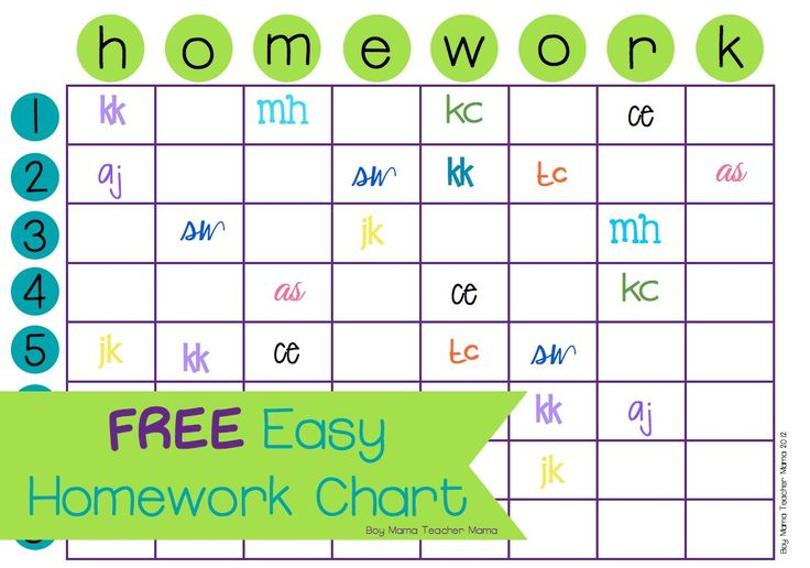 Easy Homework Chart UPDATED NEW DESIGN! As a teacher who assigns homework that has to be turned in, the chances of the whole class actually completing it and turning it on time is pretty slim. I w…
