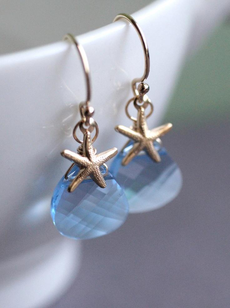 Swarovski Crystal Starfish Earrings Sky Blue Aqua Baby Beach Wedding