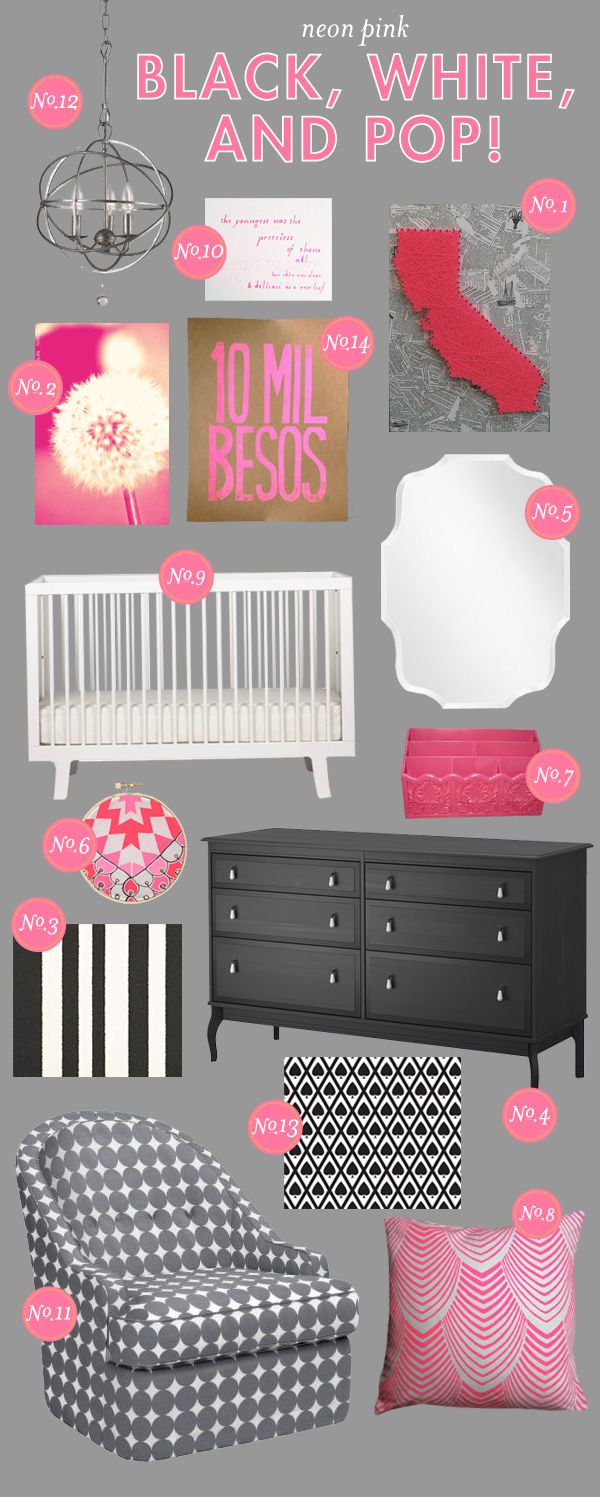 hello there...: Inspiration Board, Mood Board, Pink Nurseries, Nursery Inspiration, Black White, Baby Girl, Nursery Ideas, Baby Room, Neon Pink