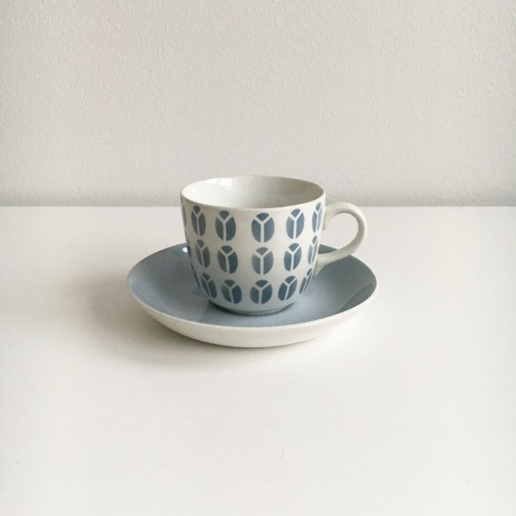 """Vintage Arabia Finland  coffee cup with saucer named """"Papu"""" by Kaj Franck / Raija Uosikkinen , 1950s - Made in Finland by FinnishVintageOasis on Etsy"""
