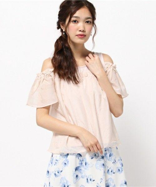 EDIT COLOGNE(エディットコロン)の《EDIT COLOGNE》オープンショルダーカットソー(Tシャツ/カットソー)|ピンク