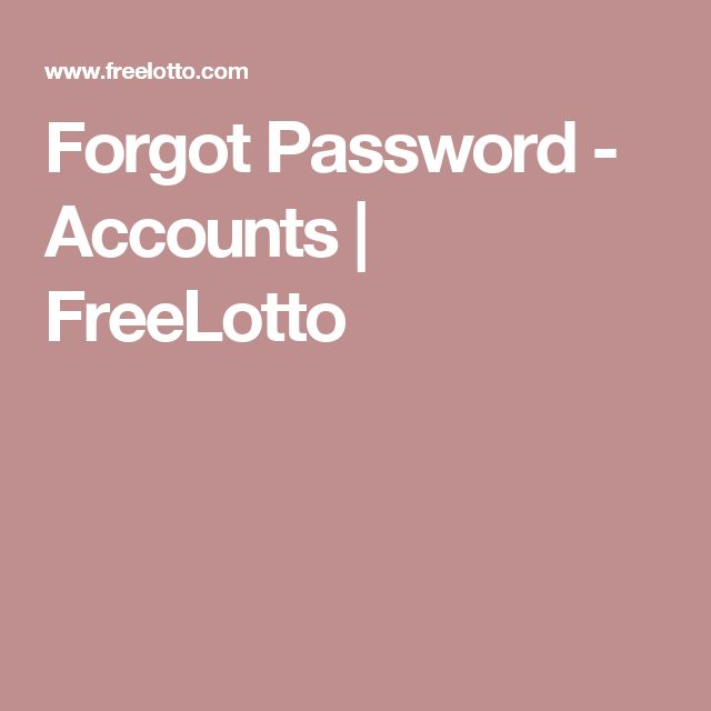 Forgot Password - Accounts | FreeLotto