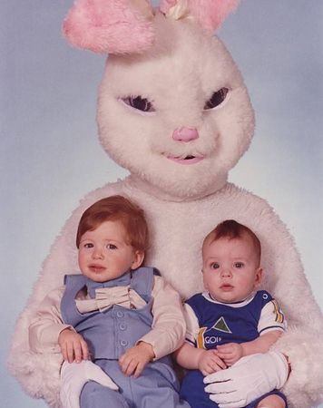 A Visit With the Most Horrifying and Scary Easter Bunnies of All Time - Why, why, why were these bunnies allowed near children?!