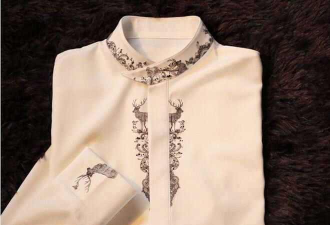 Fine Art Collection white bird and deer hand-painted unique elegant shirt by PurpleFishBowl on Etsy https://www.etsy.com/listing/176202941/fine-art-collection-white-bird-and-deer