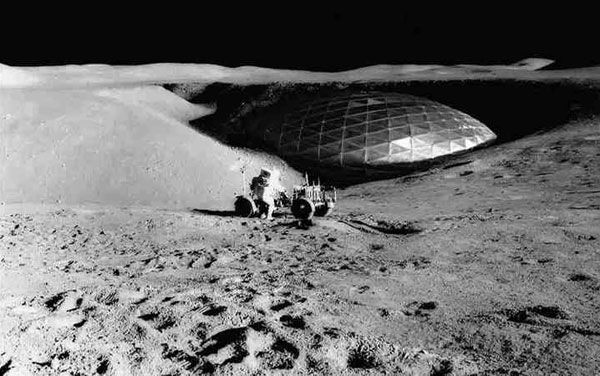 Dome on the moon, as seen in this Recently released image from the NASA classified files, showing interesting proof of pre-existing life on the moon...