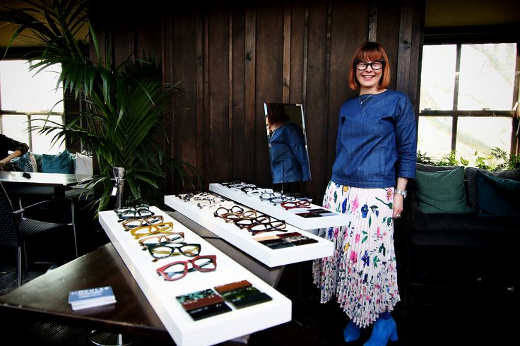 Caren Downie showing the first collection of ByOCular glasses and spectacles.