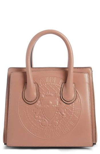 BALMAIN MINI GLACE LEATHER TOP HANDLE BAG - PINK. #balmain #bags #shoulder bags #hand bags #leather #lace #