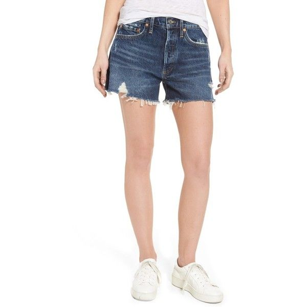 Women's Agolde Parker Distressed Denim Shorts ($128) ❤ liked on Polyvore featuring shorts, heart breaker, high-waisted jean shorts, high waisted ripped shorts, jean shorts, ripped denim shorts and high rise jean shorts