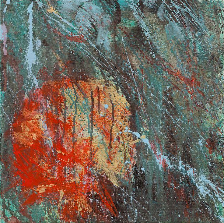 """Carla Rigato, """"Lanterna rossa 2"""", 40x40 cm, 2011.   Arte contemporanea #astrattismo #informale #art #arte #carlarigato #contemporaryart www.carlarigato.it"""