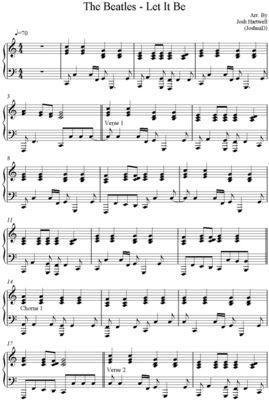 Partitura para piano de Let It Be - The Beatles | Partituras de piano | Sheet music for piano
