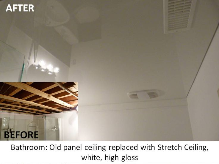 Bathroom: Old panel ceiling replaced with Phoenix Stretch Ceiling in white high gloss finish