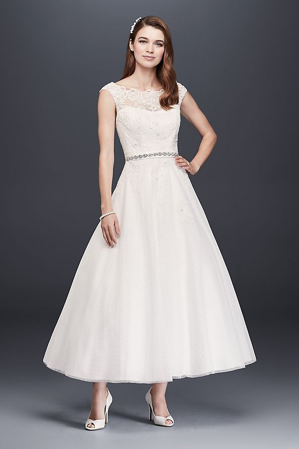 This gorgeous tea length gown is the definition of classic ...