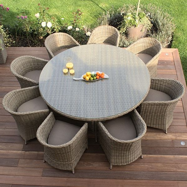 Maze Rattan Natural Milan 8 Seat Dining Set With Rounded Chairs