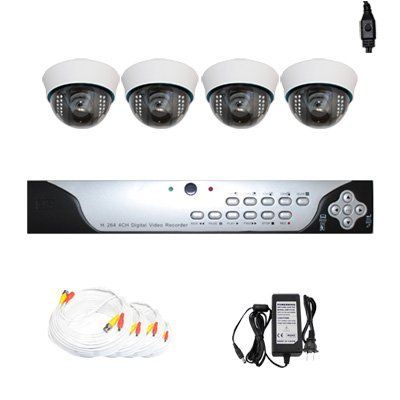 """Complete 4 Channel CCTV DVR (500G HDD) Surveillance Security System Package with (4) Pack of 700TVL 1/3"""" Sony CCD 2.8~12mm Varifocal Lens Indoor Security Camera by Gw. $660.00. Package includes: GW9104V - 4 channel network DVR with 500G HD; 4 x GW727WD -1/3"""" Exview HAD CCD II with Effio-E DSP Devices Camera; 1 x GW125CAW: 125 feet pre-made cable BNC; 1 x GW100CAW: 100 feet pre-made cable BNC; 2 x GW60CAW: 60 feet pre-made cable BNC; 1 x GW12V7A: 12V7A Power Supply for Secur..."""