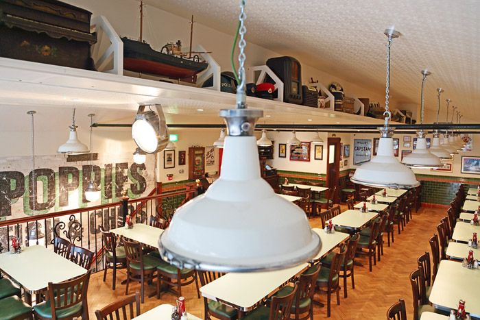 Poppies Fish and Chips Camden by Avocado Sweets Interior Design Studio. #retro #1940s #vintage #restaurant #interiordesign (photography by Fisher Hart)