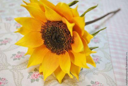 Сочный подсолнух из фоамирана - жёлтый,оранжевый,подсолнух,цветы,цветы ручной работы