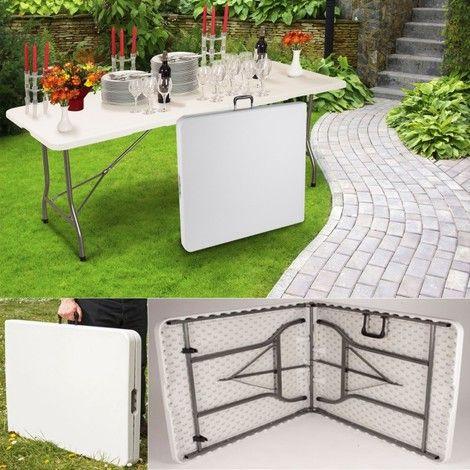 Table pliante d'appoint portable pour camping ou réception 180 cm - 12285 - Jardin piscine