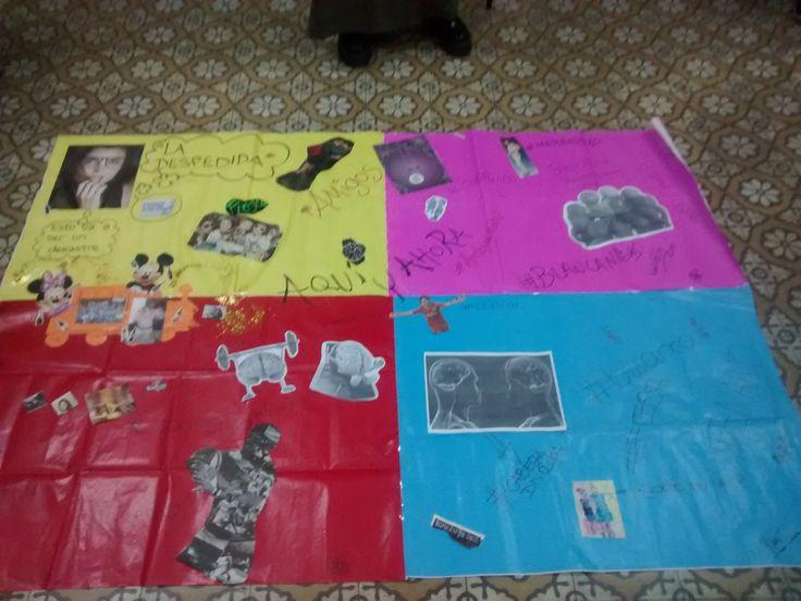 uno de los afiches ya terminado, un ratito antes de ser puesto junto a los otros