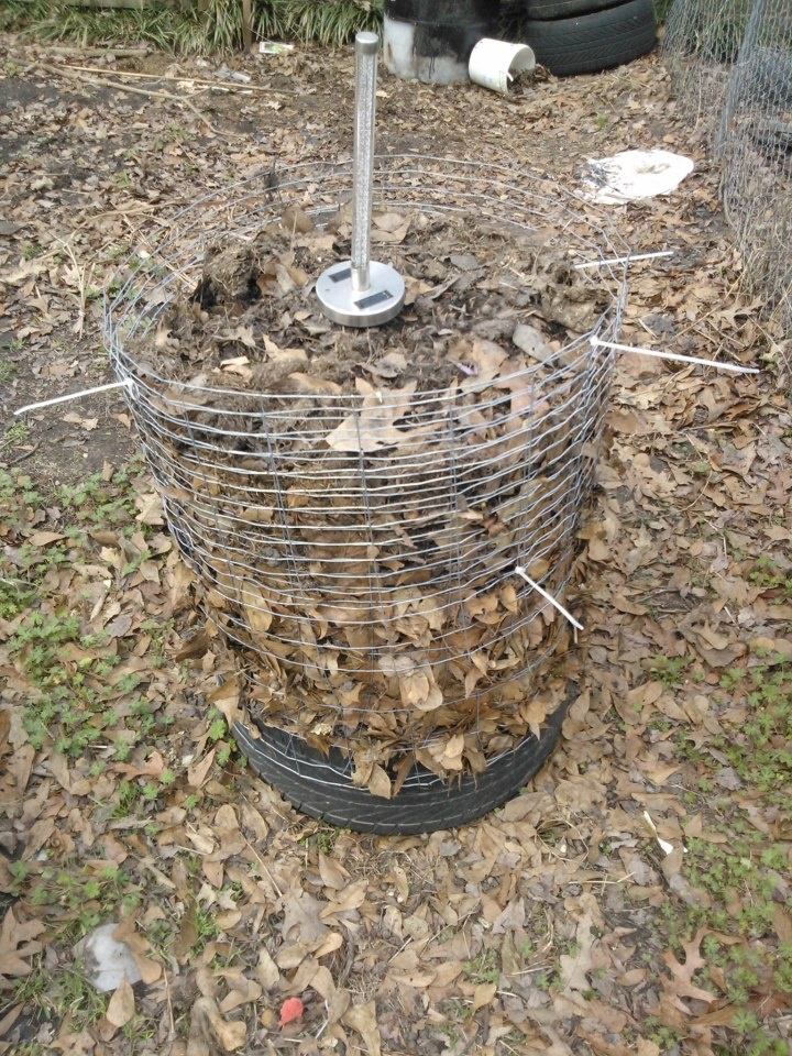 potato bin, medium size, all i used was a used tire(bottom portion) sealed it, then filled with broken bricks. wraped spare rabbit wire around and started to fill with dirt and leaves (leaves on outside, dirt inside)