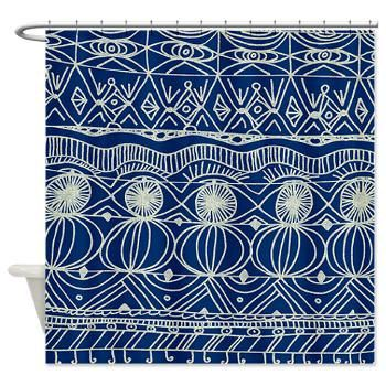 Navy Blue Shower Curtain - Navy and Cream -unique, navy blue , cream, pattern, spectator, home, decor