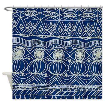 Navy Blue Shower Curtain - Navy and Cream -unique, navy blue , cream, pattern, spectator, home, decor