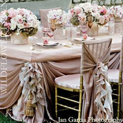 Tablescape.Decor, Pink Wedding, Ideas, Tables Sets, Vintage Wedding, Tables Linens, Wedding Chairs, Chairs Covers, Ruffles
