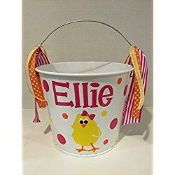 Personalized 5 quart Easter pail Bucket - chick design - Easter basket