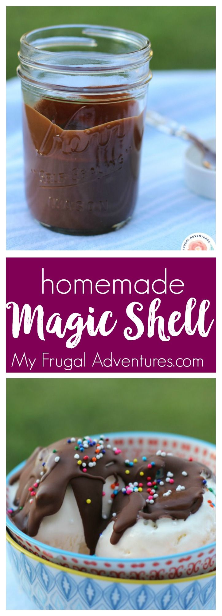 Super simple homemade magic shell recipe.  Just 2 minutes to make and unbelievably good!